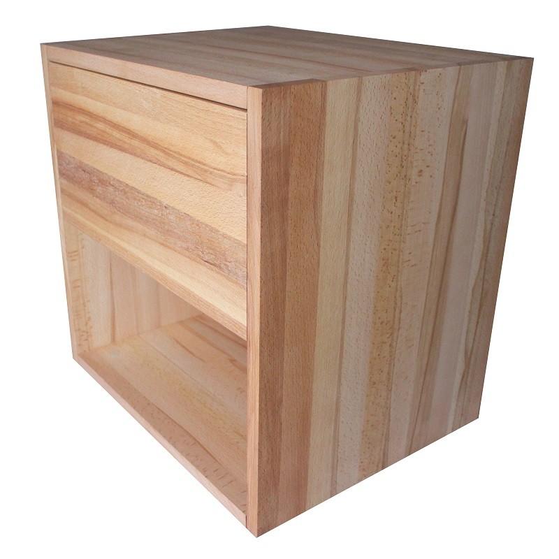 Table de chevet cube de rangement avec tiroir en bois de h tre massif huil - Cubes de rangement en bois ...