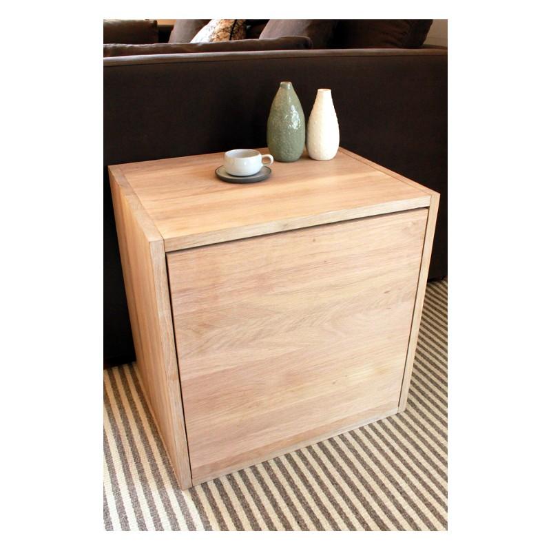 cube de rangement avec tag re et porte en bois de ch ne. Black Bedroom Furniture Sets. Home Design Ideas