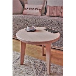Table d'appoint ronde en hêtre naturel - L40cm/H38cm