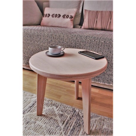 Table basse ronde en hêtre naturel - L40cm/H38cm