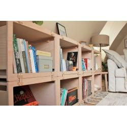 Cube de rangement, bibliothèque modulable en hêtre naturel