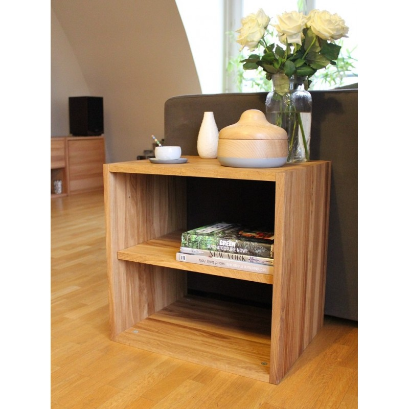 cube de rangement avec tag re en bois de ch ne massif huil. Black Bedroom Furniture Sets. Home Design Ideas
