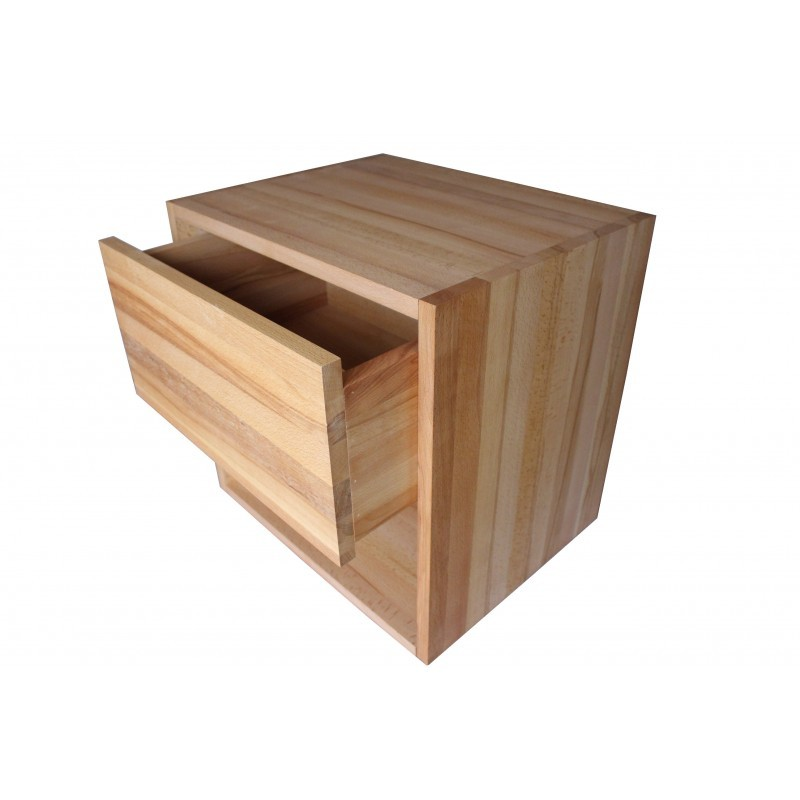 table de chevet cube de rangement avec tiroir en bois de h tre massif huil. Black Bedroom Furniture Sets. Home Design Ideas