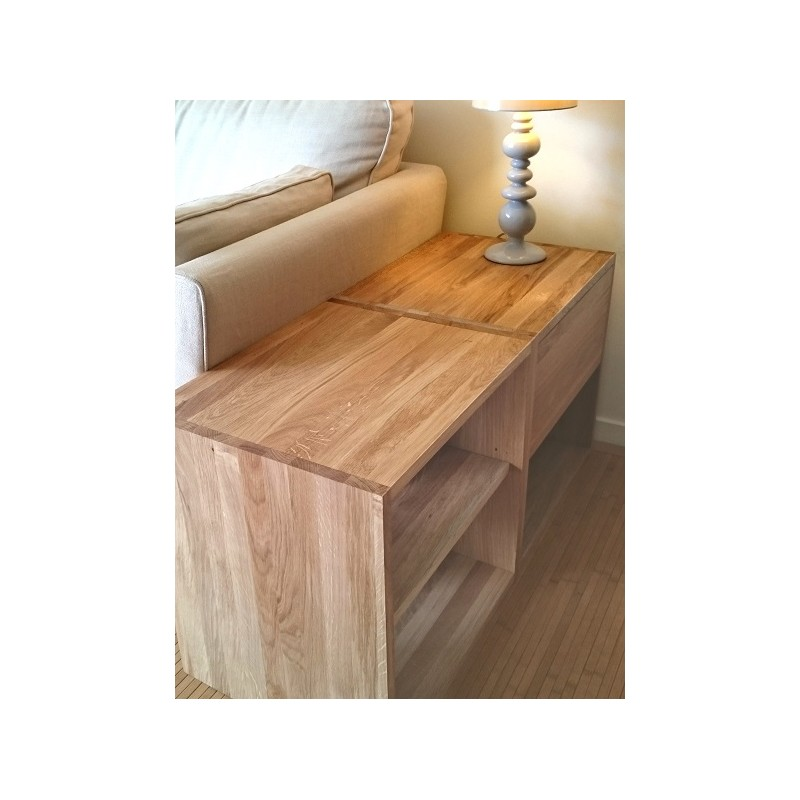 table de chevet cube de rangement avec tiroir en bois de ch ne massif huil. Black Bedroom Furniture Sets. Home Design Ideas