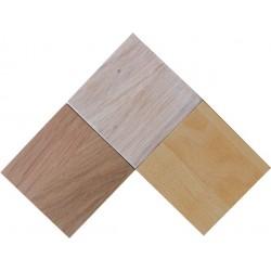 Tablettes échantillons  en hêtre huilé, chêne huilé et chêne blanchi