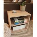 Meuble cube de rangement avec étagère en bois de chêne  massif blanchi. L50/H50/P40cm.