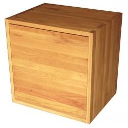 Meuble cube de rangement en chêne massif huilé avec étagère et porte. L50/H50/P40 cm.
