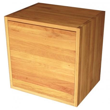 Cube de rangement en chêne massif huilé avec étagère et porte